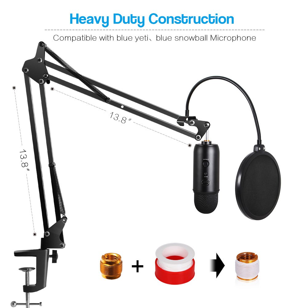 InnoGear Heavy Duty Microphone Stand with Mic Microphone Windscreen and Dual Layered Mic Pop Filter Suspension Boom Scissor Arm Stands for Blue Yeti,Blue Yeti Nano,Snowball, Blue Spark & Other Mic by InnoGear (Image #7)