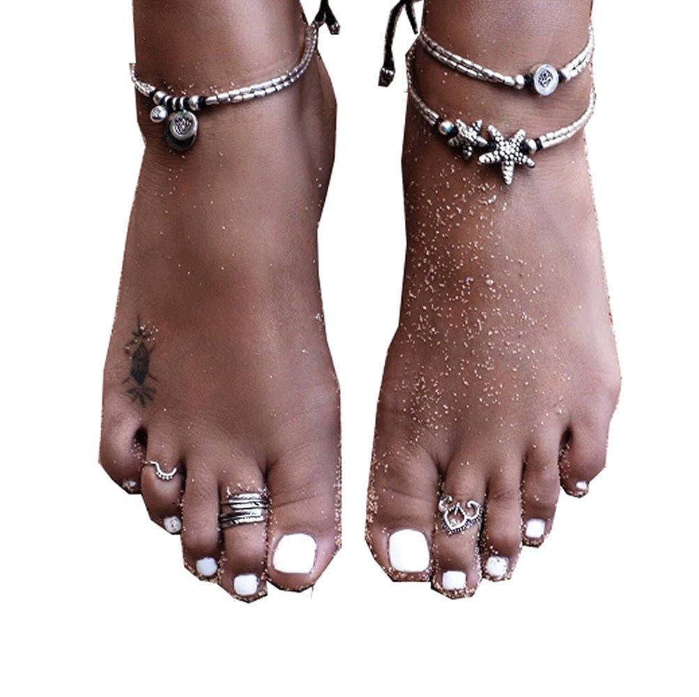 Keybella Anklets for Women Girls Ankle Chains Bracelets Adjustable Beach Anklet Foot