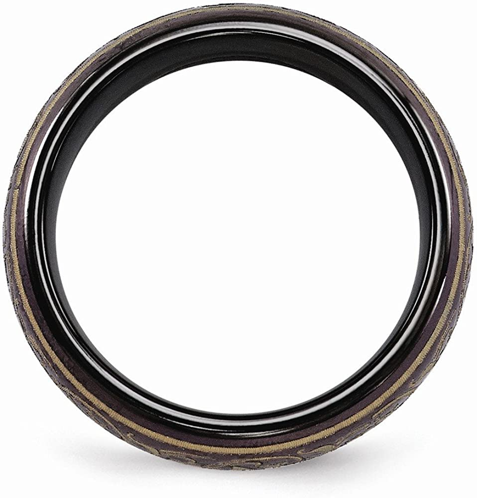 Bridal Wedding Bands Fancy Bands Edward Mirell Black Ti Domed Anodized Copper Color Band Size 7.5