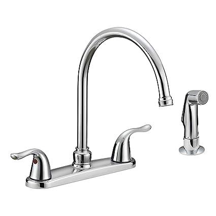 Ez Flo 10201 Two Handle Kitchen Faucet With Spray Chrome