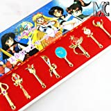8 Pcs Set Sailor Moon Magic Wand Buckle Keychain Golden