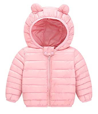Amazon.com  Toddler Girls Puffer Jacket Hooded Overcoat Lovely Outfit  Winter Coat - Pink - 24M  Clothing e6b93d04a63