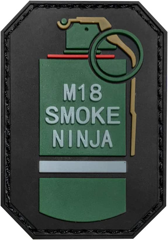 Morton Home M18 Smoke Ninja 3D PVC Tactical Morale Badge Rubber Patch (Red)