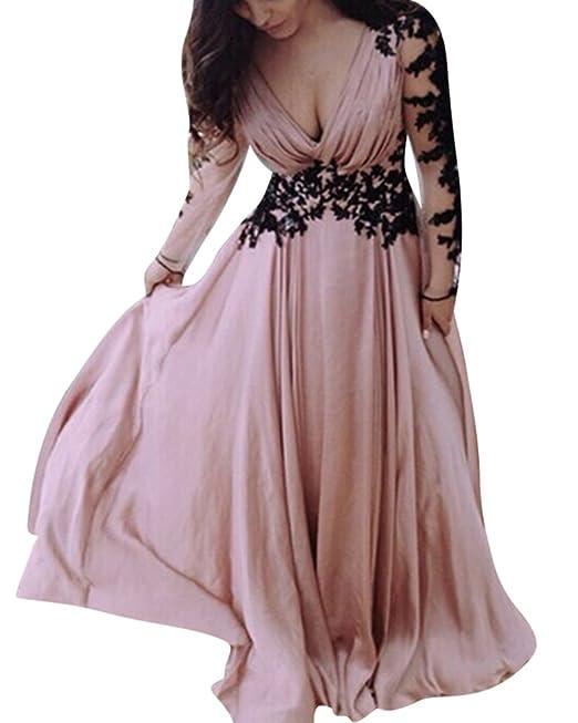 44d950363346 Donna Vestiti Lunghi Da Cerimonia Elegante Collo V Vestito A Pieghe Abiti  Da Sera Amazon.it Abbigliamento ...