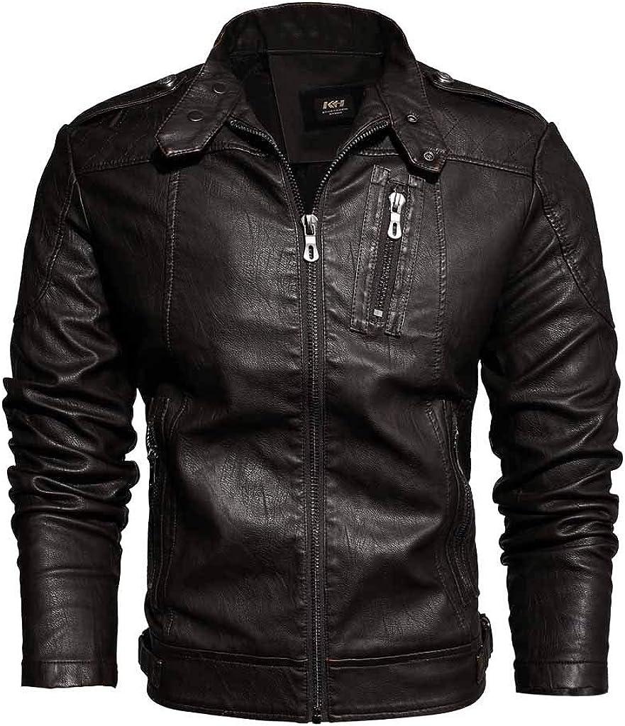 BiuBuy Men Leather Motorcycle Jacket,Casual Solid Color Plus Velvet Zipper Coats