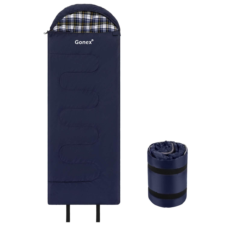 Gonex - Sacco a Pelo Rettangolare, Caldo, Ultraleggero, Impermeabile, Antivento, per Adulti, per Escursionismo, Campeggio, con Borsa di Trasporto