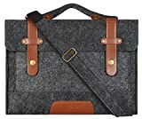 Mosiso Felt 15.6 Inch Laptop Shoulder Bag Briefcase Carry Case Sleeve Cover for Notebook Computer / MacBook Pro 15 , Compatible with Most 13 Inch Ultrabook Netbook , Black