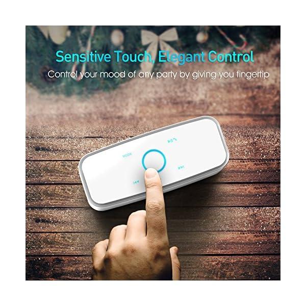 Enceinte Bluetooth 12W, DOSS SoundBox Haut-Parleur Bluetooth sans Fil Portable,Commande Tactile et Définition Stéréo, 12 Heures d'Autonomie en Lecture,Mains Libres Téléphone, Carte TF Support.- Blanc 3