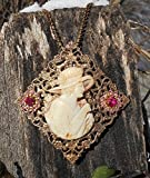 Museum Quality Vintage Cameo Hand Carved Shell Side Cut Profile in Her Garden Holding a Flower wearing a Spring Hat In The Moment Necklace. One of a Kind!