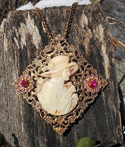 Museum Quality Vintage Cameo Hand Carved Shell Side Cut Profile in Her Garden Holding a Flower wearing a Spring Hat In The Moment Necklace. One of a Kind! (Vintage Museum)