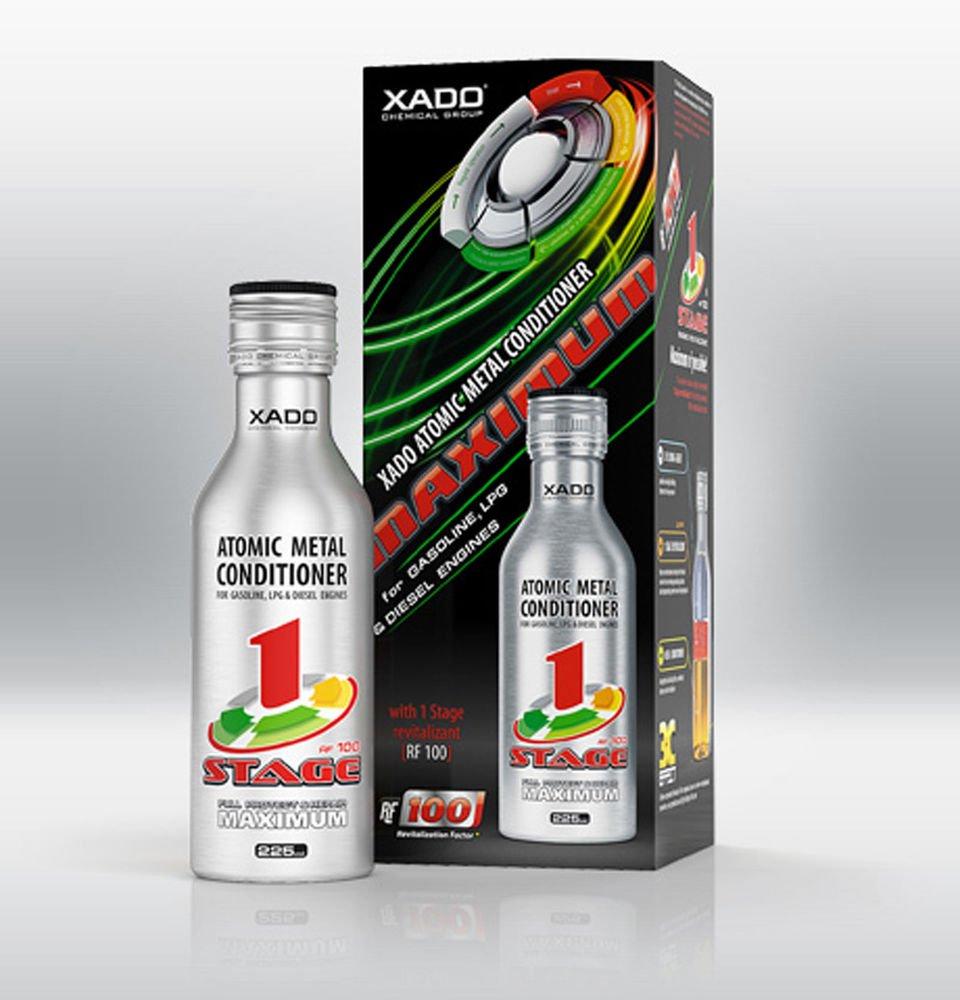 XADO Conditionneur de métal atomique Maximum Revitalizant® 1Stage Engine Oil Additive Additif pour huile de moteur pour réparation et usure, 225ml