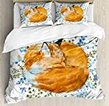 Fox Duvet Cover Set Queen Size by Ambesonne, Sleeping Fox in Watercolors Hand Drawn Fresh Wild Flowers Blossoms Artwork, Decorative 3 Piece Bedding Set with 2 Pillow Shams, Orange Blue Olive Green