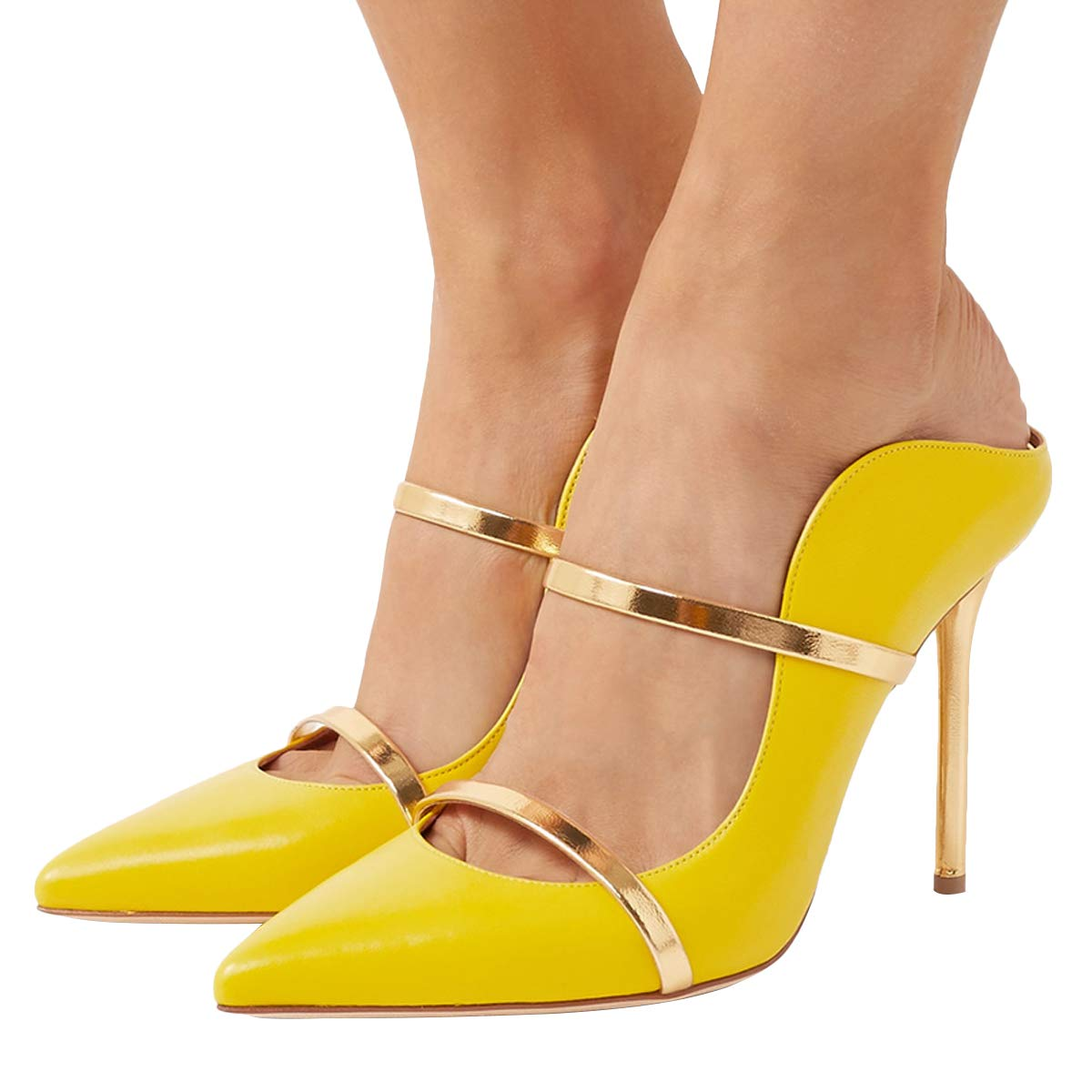 8c3fcd8f0d1da FSJ Women Fashion Pointy Toe Pumps High Heels Mule Sandals Double Straps  Slide Shoes Size 9 Yellow-12 cm