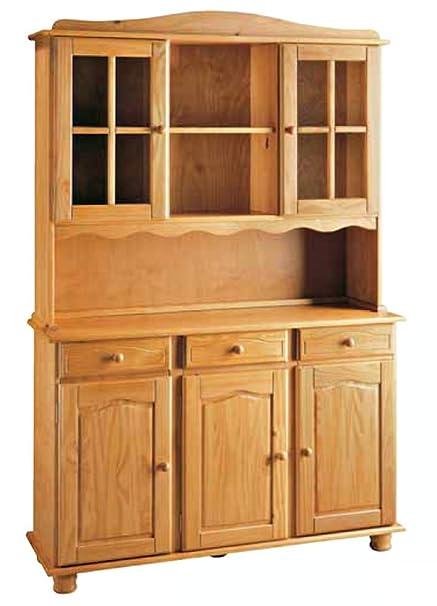 La Factoría Muebles - Alacena 3 puertas en pino macizo, talla 130 x 197 x 42cm