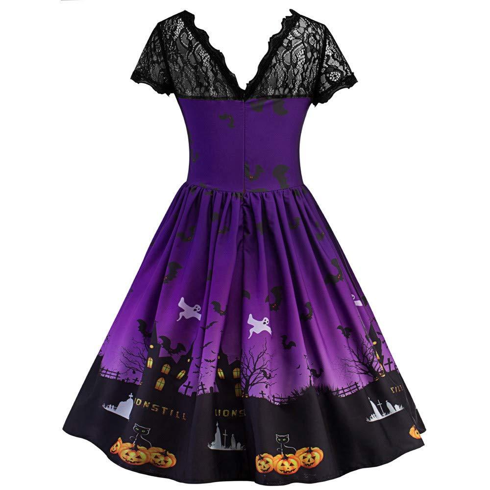 Vestidos Coctel Corto Vintage 50S 60S Rockabilly Mujer, ZARLLE Vendimia Halloween Swing Vestido Skater Vestido para Halloween Partido Falda Plisada para ...