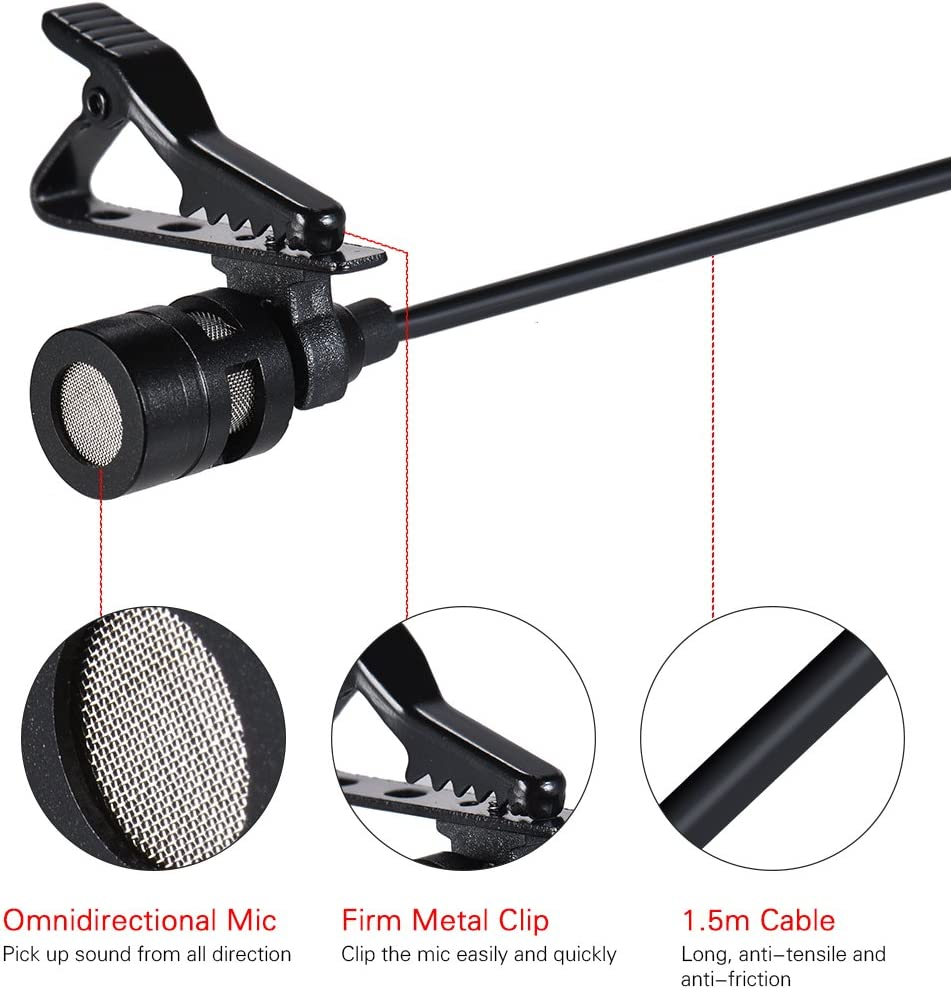 Andoer Dual-Headed Lavalier Lapel Clip-on Omnidirectional Condenser Microphone Mic Cable Length 4.9ft Compatible with iPad iPod Android Smartphone Compatible with Camera
