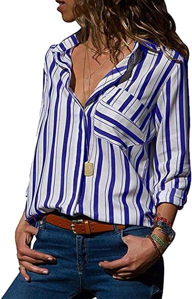Camisa de Mujer, Manga Larga Rayas Verticales Blusa Casual de Negocios Camiseta de Solapa Camisas Sueltas para Mujer Tops Camisa Polo con Bolsillo y Botones(Oversizes S-5XL Multicolor Disponibles): Amazon.es: Ropa y accesorios