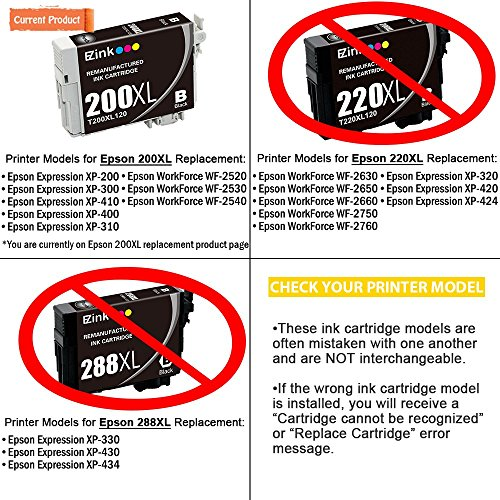E-Z Ink Remanufactured Ink Cartridge Replacement for Epson 200XL, Compatible with XP-200 WF-2540 XP-300 WF-2530 XP-410 WF-2520 XP-400 XP-310 Printer, Black