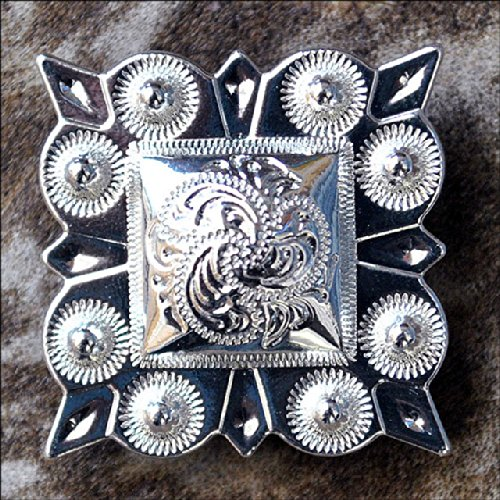 HILASON Set of 4 German Silver 1 INCH Berry Square Conchos Cowgirl HEADSTALLS from HILASON