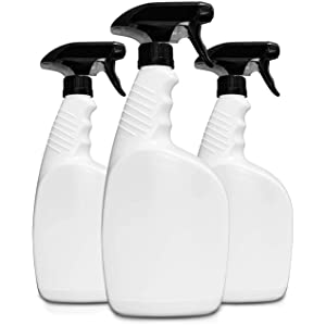 HavenLab 32oz 3 Pack Reusable Plastic Spray Bottle Sprayer for Bleach, Auto Detailing, Water Plants, Grilling, Haircuts, Cleaning, Disinfectant, Chemicals - HDPE, Non-BPA, Easy Squeeze Trigger.