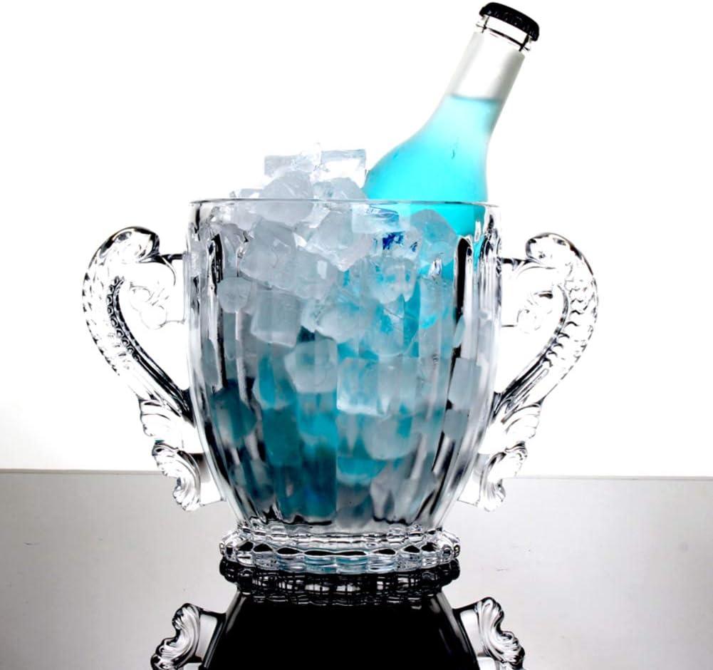 WYMESW Vaso Cubitera Cubo De Hielo, Portátil Enfriador De Vino Champagne Cubitera Cubo De Hielo con Asa,Cristal Artículos De Bar Cubitera para Hielo,cubitera De Vino para Bar-b 16x13x10cm(6x5x4inch)