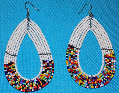 African Handmade / Beaded Women Maasai Earrings (WHITe), used for sale  Delivered anywhere in USA