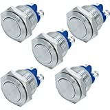 E Support™ Car 16mm Momentary Stainless Metal Push Button Switch Pack of 5