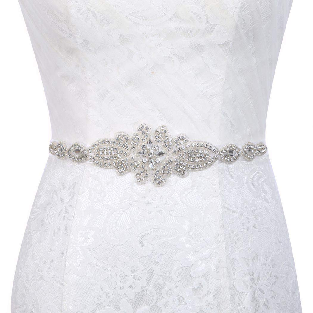 5fa743bf6b Yalice Women's Crystal Bride Wedding Belt Sash Silver Rhinestone ...