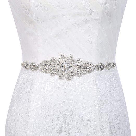 Wedding Dress Accessories.Yalice Women S Crystal Bride Wedding Belt Sash Silver Rhinestone