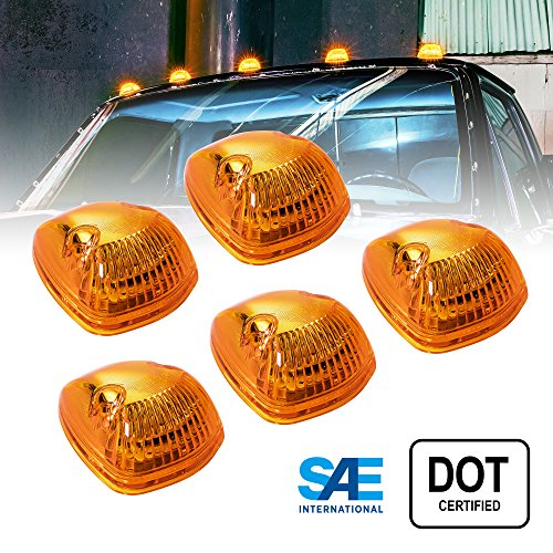 5pc OLS Amber LED Cab Lights [DOT/SAE Certified] [12 LED] [Waterproof] [Heavy Duty] LED Roof Top Marker Clearance Running Lights – (Universal Fit or Replacement for 94-98 Dodge Ram)