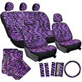 OxGord® 21pc Set of Zebra Print Car Seat Covers w/Deluxe Velour Animal Carpet Floor Mats, Steering Wheel Cover & Shoulder Pads - Airbag Compatible - Front Low Back Buckets - 50/50 or 60/40 Rear Split Bench - Universal Fit for Cars, Truck, SUV, or Van, Purple