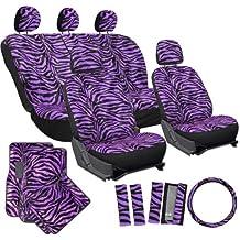 OxGord 21pc Zebra Car Seat Cover, Carpet Floor Mat, Steering Wheel Cover and Shoulder Pad Set - Universal Fit, Truck, SUV, or Van - Purple