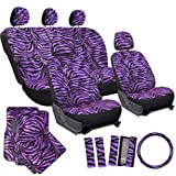 OxGord 21pc Zebra Car Seat Cover, Carpet Floor Mat, Steering Wheel Cover and Shoulder Pad Set - Universal Fit, Truck, SUV, or Van - Purple