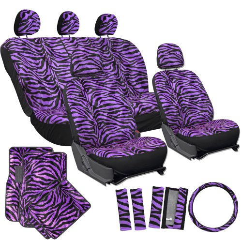 OxGord 21pc Set of Zebra Print Car Seat Covers w/Deluxe Velour Animal Carpet Floor Mats, Steering Wheel Cover & Shoulder Pads - Airbag Compatible - Front Low Back Buckets - 50/50 or 60/40 Rear Split Bench - Universal Fit for Cars, Truck, SUV, or Van, Purple (Seat Cover For Car For Women compare prices)
