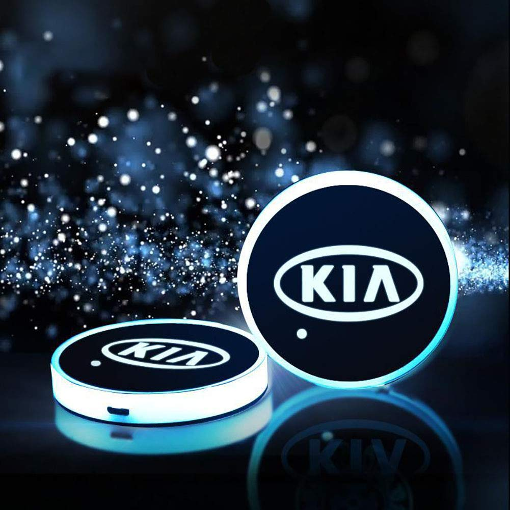 2 Unidades LED Car Logo Cup Holder Pads 7 Colores Changing USB Charging Mats Bottle Coasters Car Atmosphere Lamps IP67 estanco Ysoom