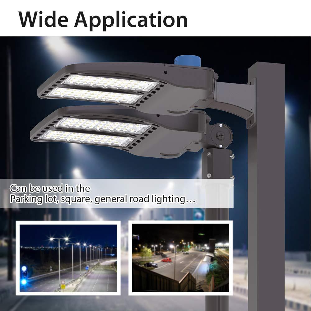 135lm//w HYPERLITE LED Parking Lot Lights 150W 20,250Lm 5000K with Dusk to Dawn Photocell UL DLC Certified IP65 Parking Lot LED Lights 180/°Adjustable Pole Mount Single Installation