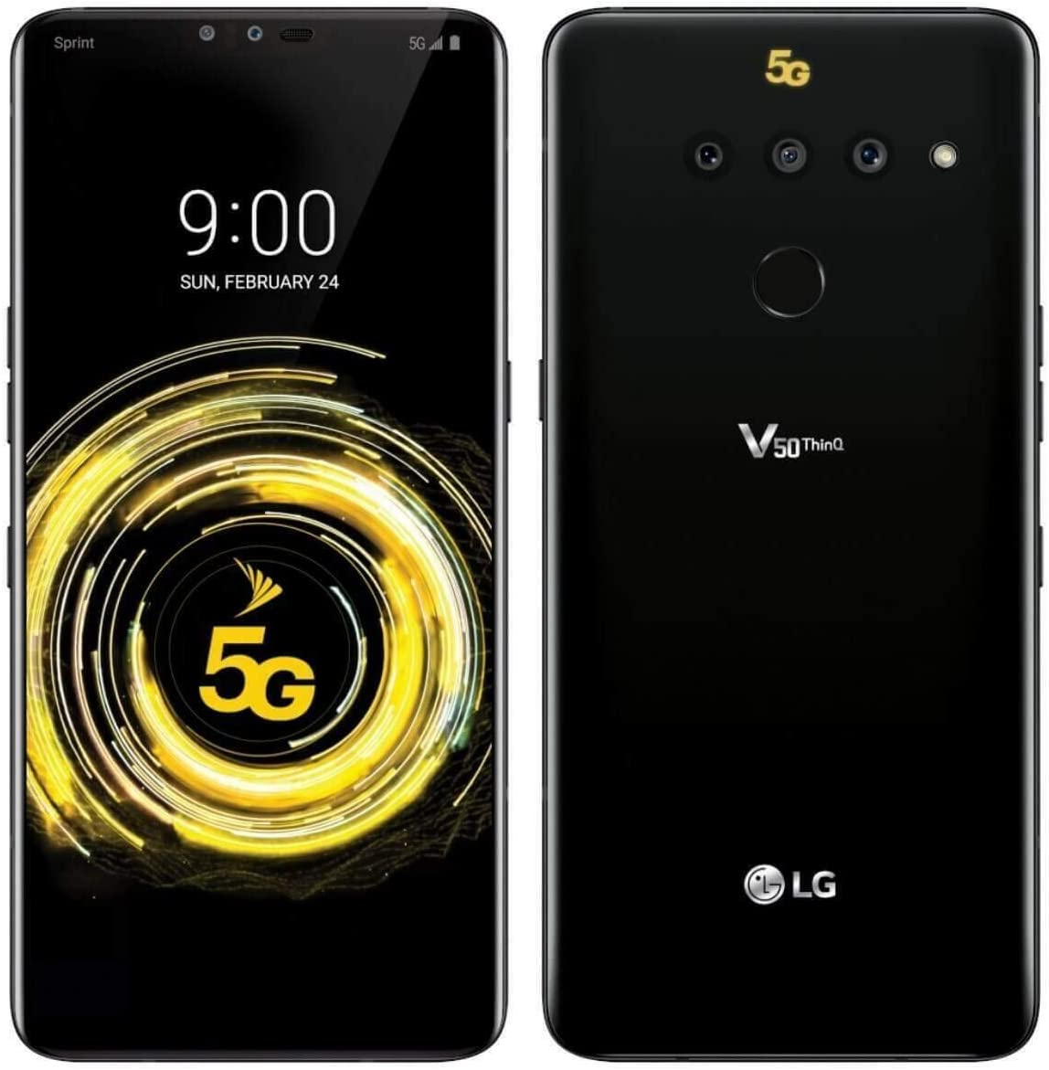 LG V50 ThinQ 128GB LMV450PM Sprint CDMA and GSM Unlocked 5G Smartphone Aurora Black