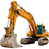 Wallmonkeys Yellow Excavator at Construction Site Peel and Stick Wall Decals WM228643 (30 in W x 25 in H)