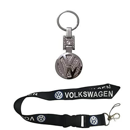 New 1pcs Volkswagen Keychain Lanyard Badge Holder + 1pcs Volkswagen Metal Alloy Crystals Keychain