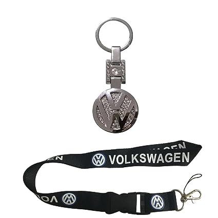 New 1pcs Volkswagen Keychain Lanyard Badge Holder + 1pcs Volkswagen Metal Alloy Crystals Keychain