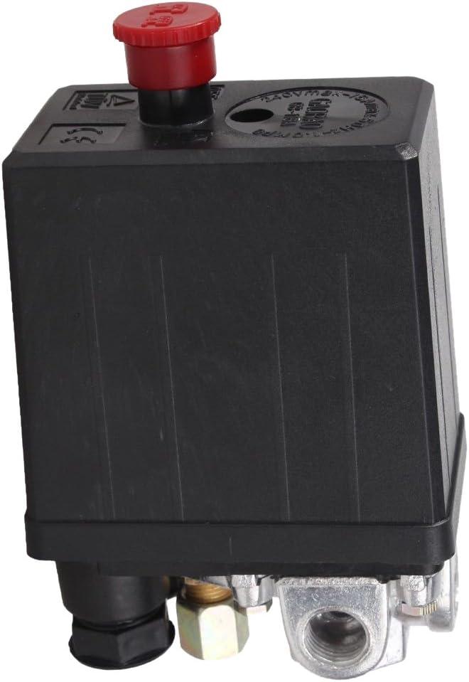 SODIAL 90 Psi -120 PSI color negro R - V/álvula de control de presostato de compresor de aire de servicio