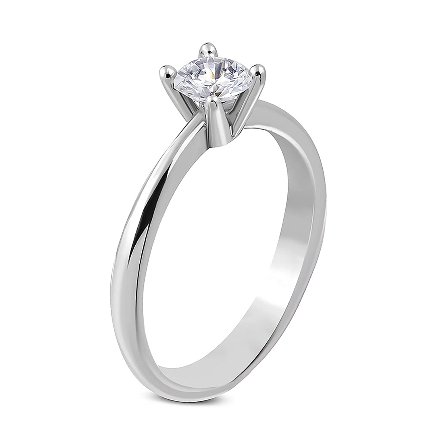 Pure 316-5.5mm | Surgical Stainless Steel 316L Prong-Set Round Solitaire Engagement Ring w/Clear CZ Leviev Ltd. JK-ZRC210-P