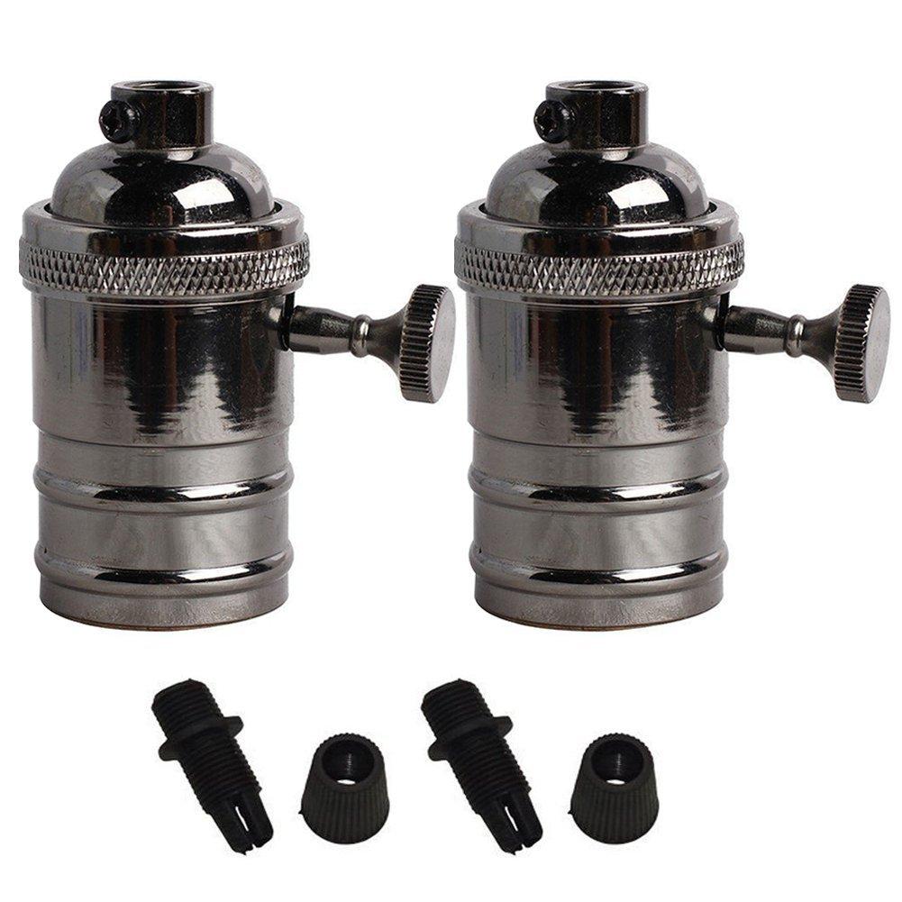 2 Pack Vintage Nickel Black E27 Lamp Holder Industrial Edison Light Bulb Socket with ON/OFF Switch