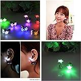Namsan 1-4 Paar LED Ohrringe Glowing Light Up mit Stern-Art-Ohr-Bolzen-Tropfen-hängende Edelstahl für Party-Partei, Multi-Color