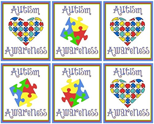 Iron Ons Color Transfers - Autism Awareness - For Dark-Colored Materials - 6 Heart & Puzzle Piece Iron Ons