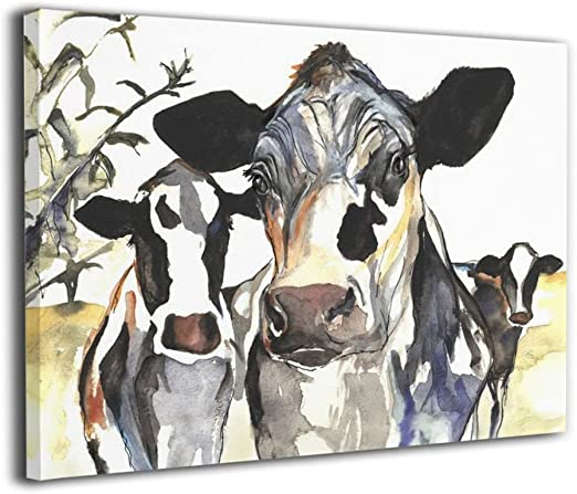 """Cow Colourful Animal wall art printed on canvas 22/'/' X 16/"""" solid frame"""