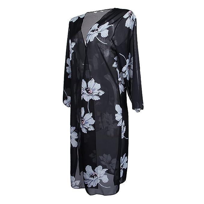 B Blesiya Blusa Larga Chal Cobija Vestido Flores Blancos Kimono Mujer Chifón Bohemio Ropa Atractiva Vocación