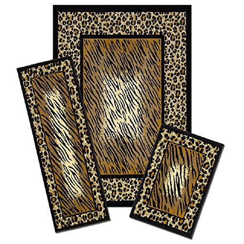 3 Piece Safari Geometric Leopard Area Rug Set, Bold Jungle Wild Forest Tiger Prints Themed, Rectangle Runner Mat Indoor Hallway Doorway Living Area Bedroom Carpet, Modern Natural Design, Mocha, Black S & E