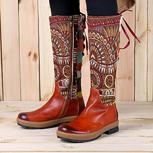 Socofy Leather Knee Boots, Footwear Womens Leather Knee-High Ankle Riding Boots Flat Boots Women's Bohemian Splicing Pattern Flat Knee High Boots Winter Warm Long Boots Brown