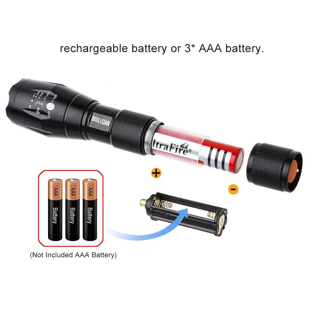 4 Modes Super Bright Torch for Outdoor Camping Rechargeable 1000 Lumens LED Flashlight Hiking Battery and USB Cable Included BOSICAN Zoomable Aluminum IP65 Waterproof Flashlight